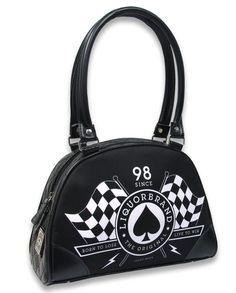 Liquor Brand Damen HEART RACEFLAG Handtasche/Bag.Tattoo,Pinup,Biker,Custom Style
