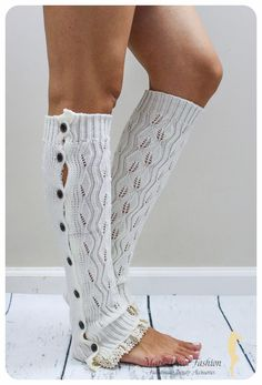 Women Knitted Leg Warmers Boot Toppers in by MarkaDecorFashion