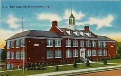 Martinsville Virginia VA 1940 New High School Collectible Vintage Linen Postcard
