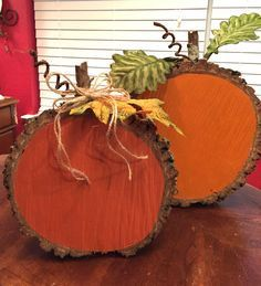 This craft was easy and fun. A friend cut the wood slices from a downed tree. I used two different shades of orange here.