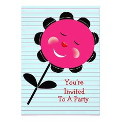 Cheeky Pink Whimsical Sunflower Personalized Kids Birthday Party Invites