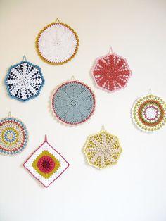 Items similar to crochet pot holder. Isabel - beige, electric blue, rusty orange and mustard on Etsy Vintage Crochet Doily Pattern, Doily Patterns, Crochet Motif, Crochet Doilies, Hand Crochet, Knit Crochet, Crochet Patterns, Crochet Ideas, Crochet Mandala
