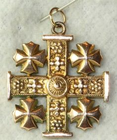 VINTAGE OLDER OLD 14K GOLD JERUSALEM CROSS PENDANT 8 GRAMS #JERUSALEMCROSS
