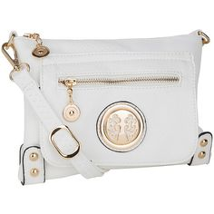 MKF Collection White Medallion Crossbody Bag ($25) ❤ liked on Polyvore featuring bags, handbags, shoulder bags, mkf collection, imitation handbags, crossbody shoulder bags, white crossbody and white cross body purse