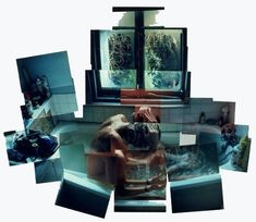 """ian washing his hair"" photo-montage david hockney"