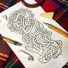 Wolf - Version 2.0 is slightly heraldic  (fast pencil sketch) Волчёк 2.0 немного геральдический - быстро скетч ✏️ #celtic #celticart #celticknot #ornaments #arzarz #emblem #irish #celticartlogo #artwork #Arzamastsev #siberia #doodle #celticdesign #knotwork #pencil #dog #line #волк #linework #sketch #celticwolf #drawing #summer #viking #summer17 #celticsummer #wolf #celticdog #tattoo #heraldic