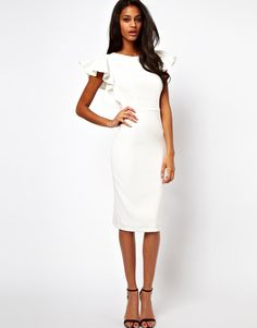 ASOS+Pencil+Dress+with+Ruffle+Sleeves