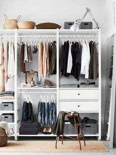 IKEA ELVARI ikea inloopkast ontwerpen elvarli Your Style, Your Budget Tired of ogling the latest sty Closet Ikea, Wardrobe Closet, Walk In Closet, Closet Space, Closet Storage, Ikea Open Wardrobe, Wardrobe Storage, Attic Storage, Wardrobe Ideas