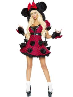 Red Polyester Polka Dot Women's Sexy Fantasy Costume - Costumeslive.com by Milanoo