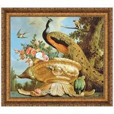 A Peacock on a Decorative Urn Canvas Replica Painting