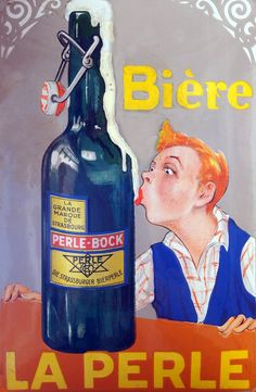 Funny Beer Lovers Poster Vintage French Biere Le Perle Man Drinking Foam Off Beer Bottle Ad Giclee Art Print With Mounted Canvas Wood Sign Options  **Please note: additional images are shown as an example of the mounted canvas. The first image ...