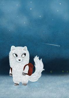 Christmas card, Polar fox  Jonna Markkula