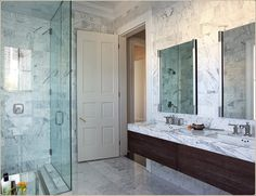 Full height white tile walls in beautiful White Marble Bathrooms, Bathroom Inspiration, Bathroom Ideas, Classic Bathroom, Beautiful Bathrooms, Colour Schemes, Home Renovation, Wall Tiles, Double Vanity