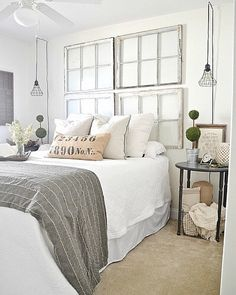 White Bedroom With Gray, Neutrals, Old Windows, Sconce Lights + Vintage  Decor