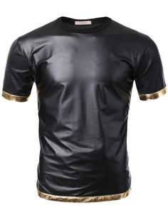 SMITHJAY Mens Hip-Hop Black Pearl Snake Leather Sleeve T-shirt with Gold Trim #smithjay