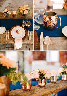 rustic modern peach copper and blue table decor
