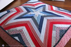 Red, White, and Blue {Floor Cushions}: Five Point Star Bean Bag Cushion designed by myself.  Pattern to come in the future.....