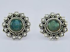 925 Sterling Solid Silver Beautiful Labradorite Stud Earring s.14 mm SS-009