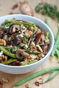 Roasted Mushroom and Green Bean Farro Salad. Omit cheese or substitute-if vegan use tofu feta cheese
