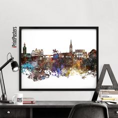 Stockholm art print skyline poster abstract art by iPrintPosters