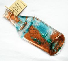 Flattened bottle - turquoise, copper, genuine flattened bottle, melted bottle, spoon rest.  via #Etsy