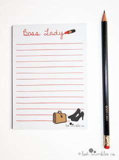 Notepad To-Do List Jotter Lined Notepad Boss Lady Notepad by Lost Marbles Co Poly Bags, Uk Shop, New Job, Boss Lady, Birthday Cards, How To Draw Hands, Stationery, Notebook, Notes