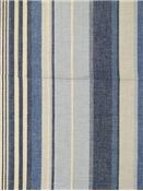 "Island Stripe Blue Cream.  Laura & Kiran fabric, 100% organic cotton, Repeat: H: 9"". 54"" wide. Yarn dyed up the roll stripe."
