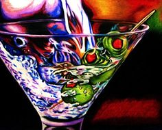 """""""Shaken not Stirred"""", colored pencil drawing by Kathryn Claahsen, 2012"""