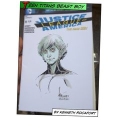 Today was #freecomicbookday, so I drove to Rancho Cucamonga for #FCBD. I was hoping to see Garry Brown and Kenneth Rocafort, but Garry couldn't make it due to impending deadlines. Kenneth delivered a beautiful Beast Boy from the next Teen Titans series, and I think I love it… A lot… Woooo!  I also held the original art for the cover for issue #1 and issue #2 of the upcoming series… I want them so badly. Ung!  #teentitans #beastboy #new52 #dccomics #justiceleagueofamerica #blank #sketch…