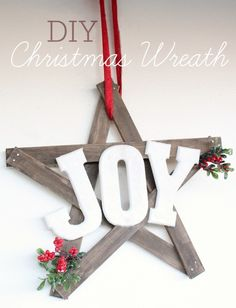 DIY Christmas Joy Wreath