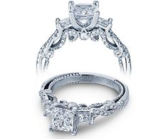 Let the Insignia 7074P symbolize your friendship, love, and fidelity to one another with this modern take on the classic three stone diamond engagement ring style.