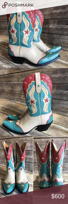 "HP Liberty Boot Co Vintage Inspired Cowboy Boots HP Total Trendsetter Party 2/6/18 Liberty Boot Co. Vintage Star in Bone. EUC & Gorgeous!!!  Beautiful taupe boots with an accenting western design in turquoise, dark rust, and light yellow.  These are meant to look vintage and would look killer with a pair of cut offs or a jean skirt.  Please see all photos for full description.  From heel to tallest leather curve measures approx 12"" tall.  Have been cleaned and conditioned.  Tag: Western…"