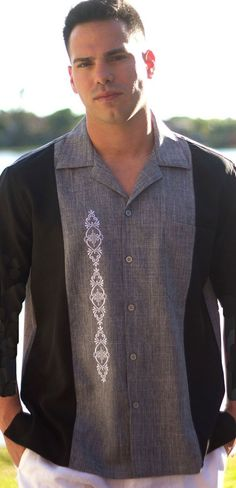 Embroidered Casual Shirts Two Tone. Long Sleeve - Two Tone Shirt. Short Sleeve. Bowling Shirt.  Comfortable and easy to wear. Wrinkle free. Machine washable, cold wash.   Size Chart  Available. Available in 4X  Available in Black, Black  Available is subject to change.  Size Chart on the footer.