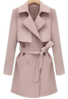 Shop Pink Lapel Long Sleeve Belt Pockets Coat online. Sheinside offers Pink Lapel Long Sleeve Belt Pockets Coat & more to fit your fashionable needs. Free Shipping Worldwide!