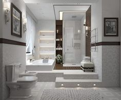 Great White Modern Bathroom Design Ideas With Corner Space Shower Room That Have Glass Wall And Side Rectangle Shaped Bathtub Furniture Complete With The Four Levels Wall Shelving Accessories Decorating Also Classic Style White Toilet Furniture Ideas White Modern Bathroom Design Ideas for Your Interior Bathroom