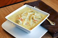 Creamy Chicken Noodle Soup by letsdishrecipes: Hearty and easy with canned cream of chicken soup and ready made frozen egg noodles! #Soup #Cream_of_Chicken #letsdishrecipes