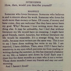 Naguib Mahfouz, on life and literature.