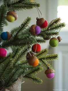 Swiss Felted Acorn Homemade Ornaments