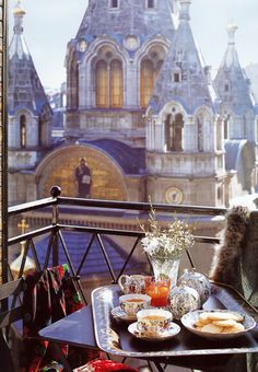 Afternoon tea on the terrace in Paris, France.