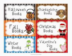 FREE Seasonal and holiday labels for book boxes.