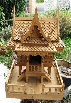 Thai Spirit House with Balcony Natural Teak