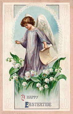 antique  and vintage .victorian cards | vintage easter old victorian card illustration angel greeting antique ...