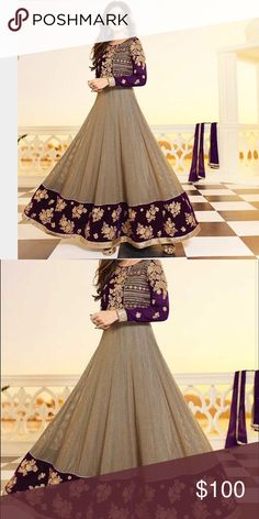 Last chance velvet anarkali Indian dress 38 Purchase before February 22 2017 or will be taken off sale last chance. Brand new velvet bodice fit and flare anarkali w gold crochet bottom shilpa shetty style Indian 3 piece dress includes anarkali leggings and scarf ships from New Jersey and includes free alterations Dresses