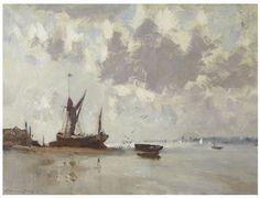 E. Seago, oil -A GREY DAY ON THE COLNE