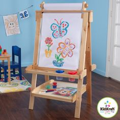 Creativity, functionality and style come together in KidKraft's Deluxe Wood Easel. With classic lines that will enhance any room or play setting, KidKraft's Deluxe Wood Easel will bring out your child's inner-artist. Kids Art Easel, Art For Kids, Crafts For Kids, Arts And Crafts, Display Easel, Wooden Easel, Diy Easel, Painted Cups, Art Craft Store