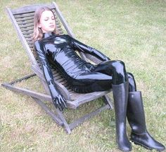 Rubber boots and Latex catsuit