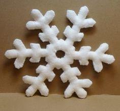 "Snowflake Wool Felt 5""-Handmade Stitched and Stuffed"