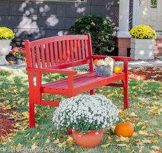 I found this perfect bench at HomeGoods last year and decided to make it red this red for the holidays. See how to paint a red bench {bench makeover}. Don't be afraid to spray paint something to make it the color you want.