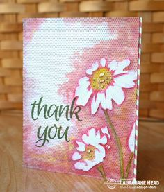 Card by LauraJane using Sentiment Builders: Thanks and ARTplorations Happy Flowers stencil