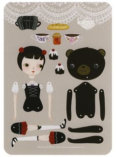 Black Forest Picnic paper doll by Wool and Water